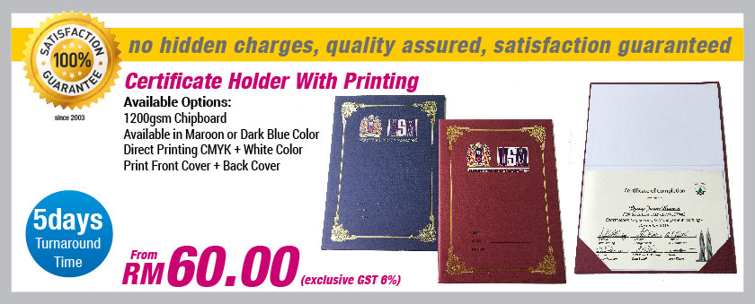 Certificate Holder With Printing