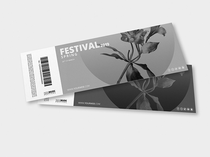 black and white event ticket